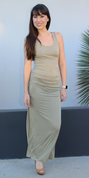 Light Green Double Slit Tank Maxi Dress