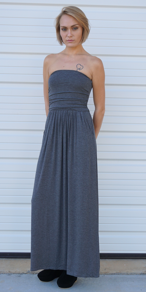 Grey Strapless Maxi Dress with Pockets