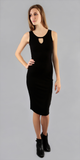 Black Sleeveless Fitted Ribbed Knit Dress