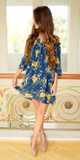 Navy Blue Lightweight Floral Off Shoulder Sun Dress