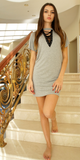 Gray Lace Front Choker Neck Mini Dress