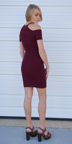 Red Cold Shoulder Ribbed Bodycon Dress