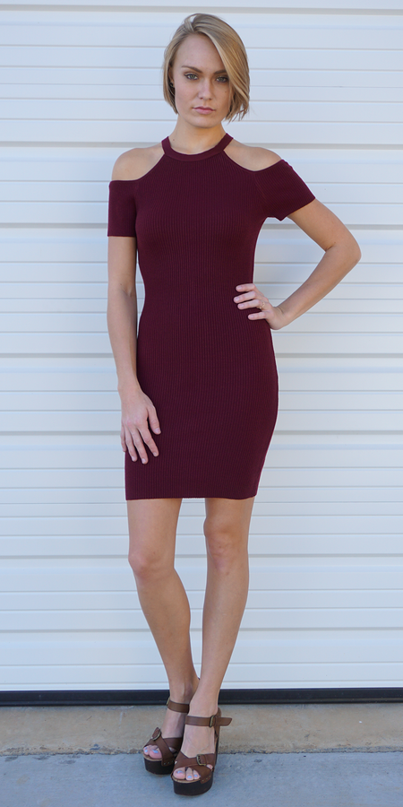 Ribbed Knit Off Shoulder Sheath Dress