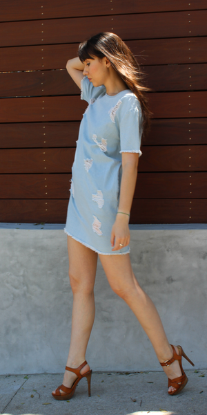 Light Blue Distressed Denim Sundress