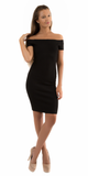 Black Ribbed Knit Off Shoulder Sheath Dress