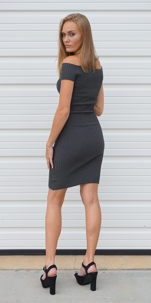 Dark Grey Ribbed Knit Off Shoulder Sheath Dress