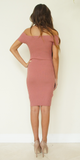 Pink Ribbed Knit Off Shoulder Sheath Dress