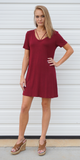 Red Jersey Knit T-Shirt Dress