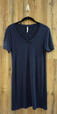Navy Caged V Neck Jersey Knit T-Shirt Dress