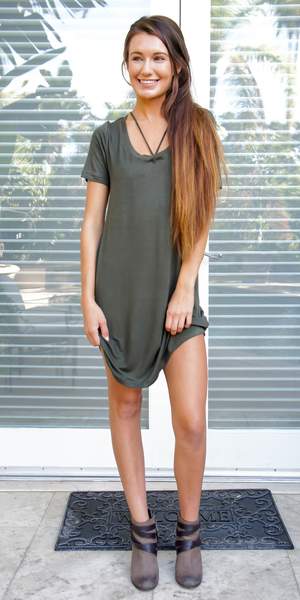 Green Caged V Neck Jersey Knit T-Shirt Dress