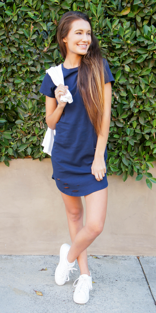 Navy Distressed Cotton Jersey T Shirt Dress