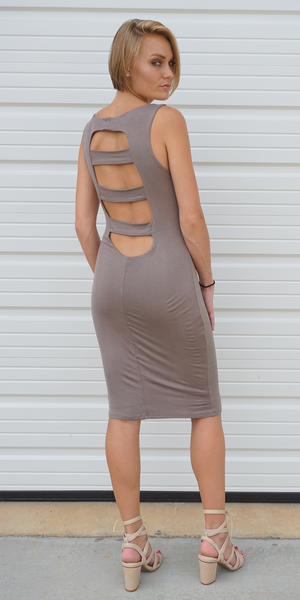 Beige Cut Out Back Bodycon Dress