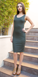 Dark Green Cut Out Back Bodycon Dress