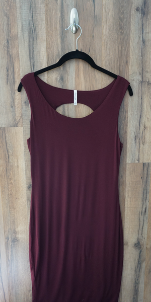 Plum Purple Cut Out Back Bodycon Dress