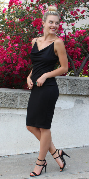 Black Draped Spaghetti Strap Jersey Dress