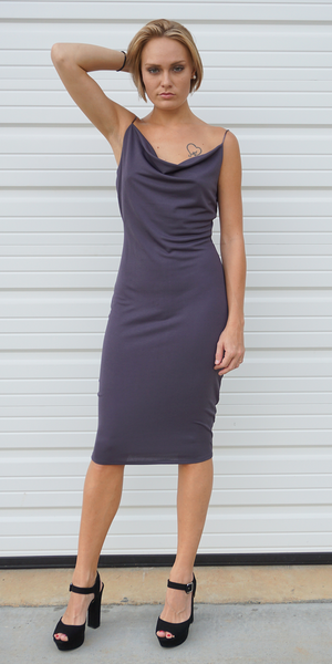 Purple Grey Draped Jersey Dress