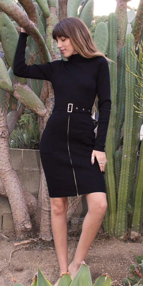 Black Belted Turtleneck Bodycon Dress