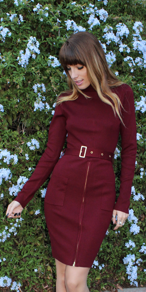 Red Belted Turtleneck Bodycon Dress