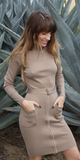 Beige Belted Turtleneck Bodycon Dress
