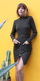 Green Belted Turtleneck Bodycon Dress