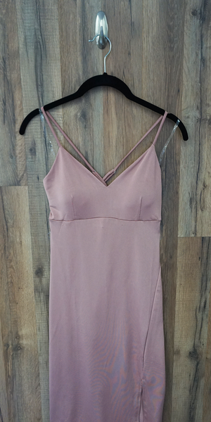 Pink Fitted Midi Slip Dress