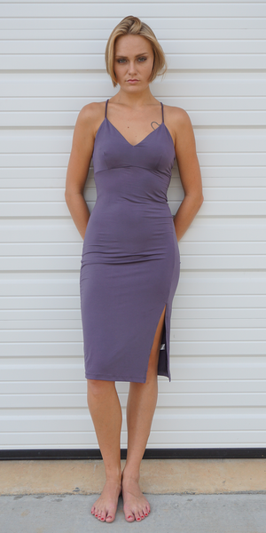 Purple Grey Fitted Midi Slip Dress