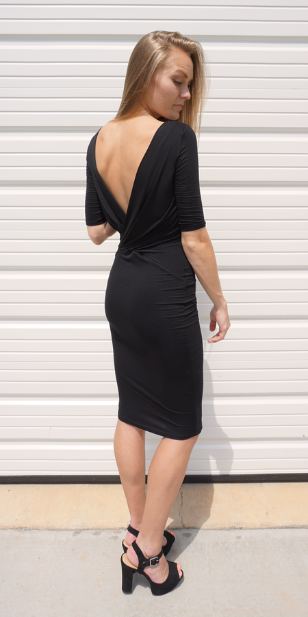 Black Fitted Jacquard Knit Dress