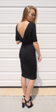 Black Open Back Knee Length Dress