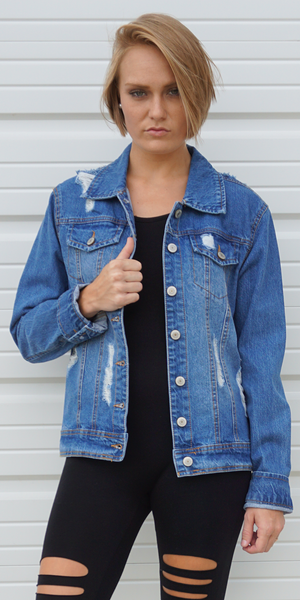Distressed Oversized Denim Jacket