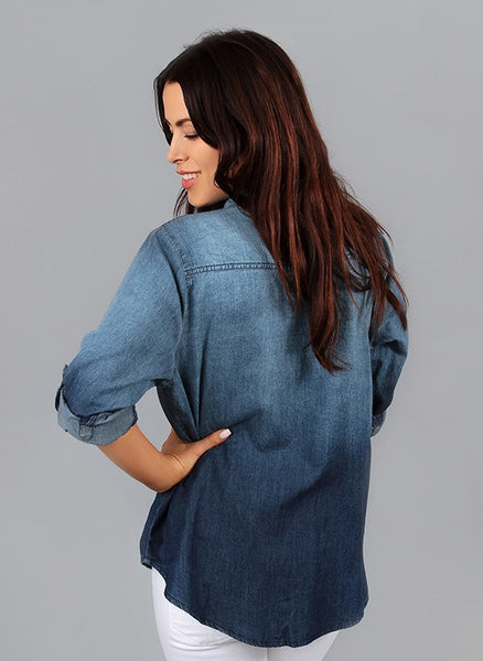 indigo denim button down shirt w. 3/4 Sleeve