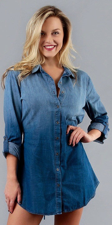 Denim 3/4 Sleeve Button Down Shirt