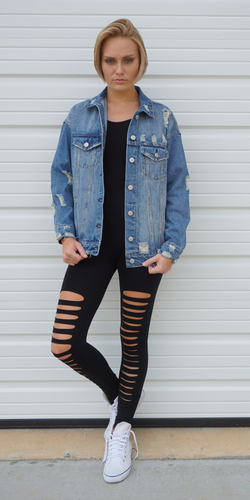 Distressed Denim Jacket 100% Cotton