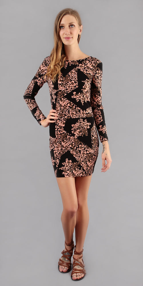 Long Sleeve Black Cherry Blossom Cowl Neck Dress