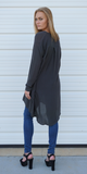 Grey Button Down Long Oversized Shirt