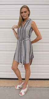 Grey Striped Button Down Shirt Dress