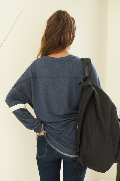 Navy Blue Oversized Rugby Shirt