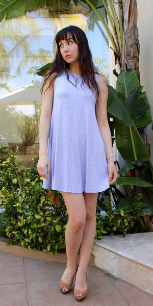Grey Sleeveless Knit Jersey Mini Dress