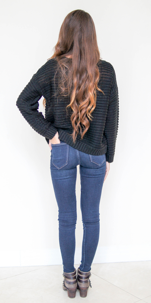 Leather Pocket Knit Sweater