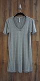 Grey Caged V Neck Jersey Knit T-Shirt Dress