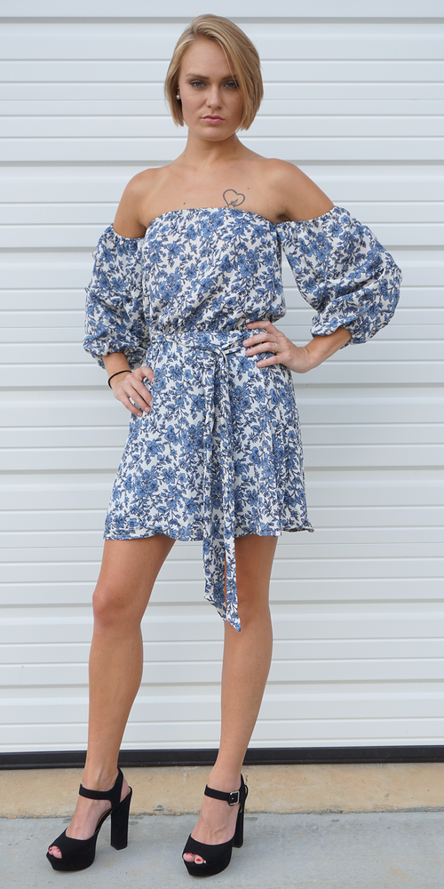 Blue White Off Shoulder Mini Floral Dress