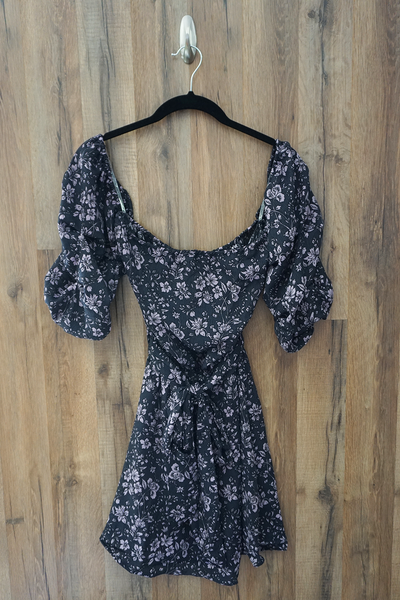 Black Purple Off Shoulder Mini Floral Dress