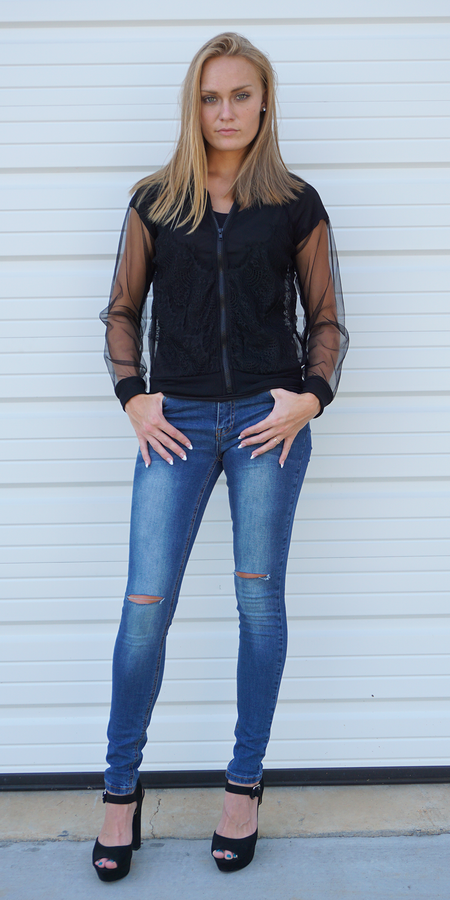 Distressed Denim Jacket - 100% Cotton