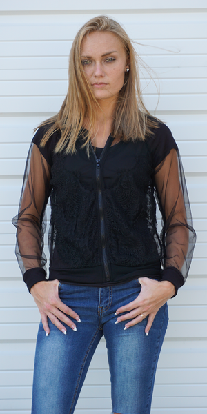 Black Sheer Mesh Lace Bomber Jacket