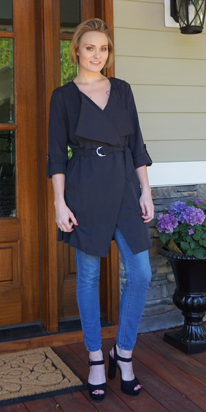 Black Belted Duster Trench