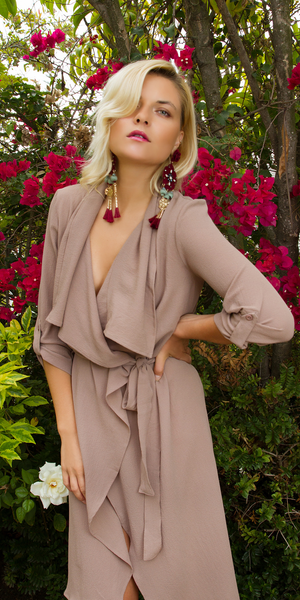 Tan Lightweight Waterfall Duster Coat