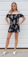 Black Off Shoulder Crinkle Crochet Floral Romper