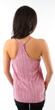 Pink Pleated Satin Cami Tank Top