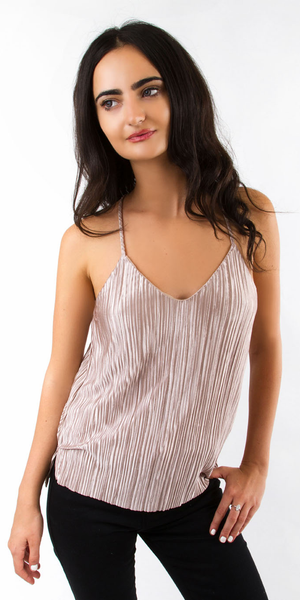 Champagne Pleated Satin Cami Tank Top