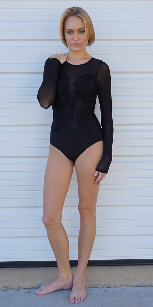 Black Floral Embroidered Semi Sheer Mesh Bodysuit