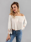 Crocheted Sleeve Off The Shoulder Crop Top